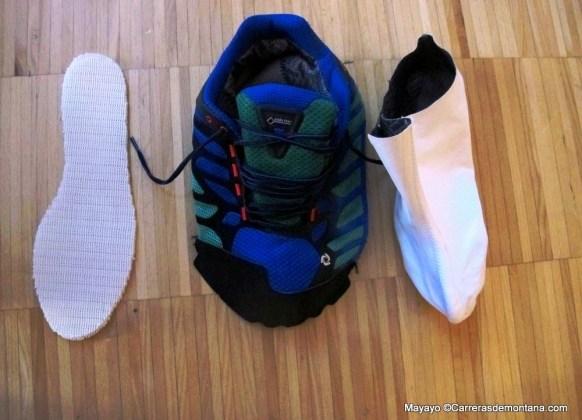 Gore tex surround zapatillas montaña. Modelo desmontado.