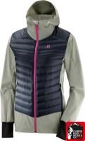 chaqueta salomon haloes down hybrid hoodie trekking mujer