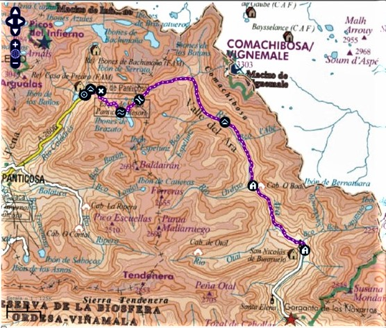 mapa gr 11 balneario panticosa a refugio bujaruelo rutas pirineo aragones