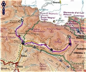 mapa gr 11 refugio bujaruelo a refugio goriz rutas pirineo aragones
