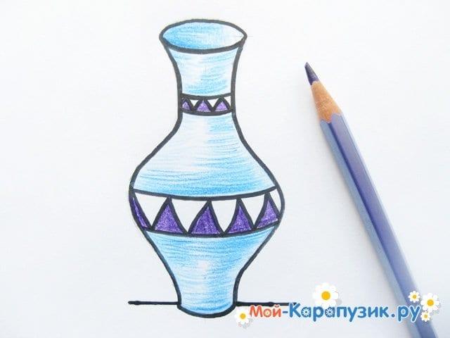 Krok za krokem výkresu váza s barevnými tužkami - foto 12