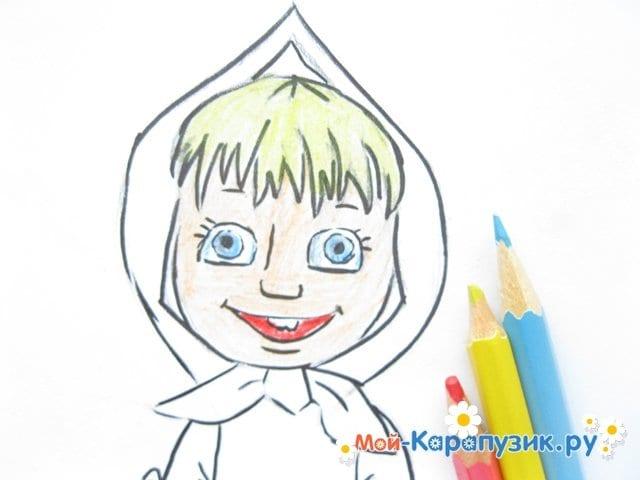 """Поэтапное рисование Маши из м/ф """"Маша и Медведь"""" цветными карандашами - фото 12"""