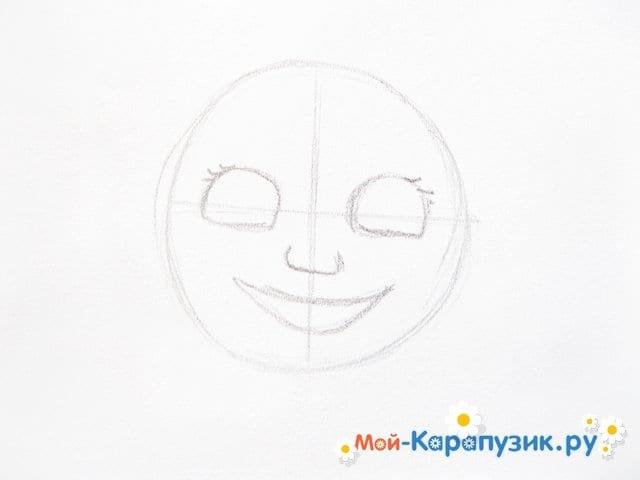 """Поэтапное рисование Маши из м/ф """"Маша и Медведь"""" цветными карандашами - фото 3"""