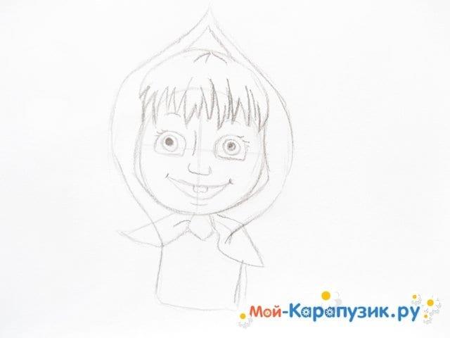 """Поэтапное рисование Маши из м/ф """"Маша и Медведь"""" цветными карандашами - фото 7"""
