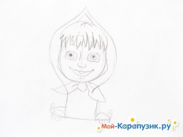 """Поэтапное рисование Маши из м/ф """"Маша и Медведь"""" цветными карандашами - фото 8"""
