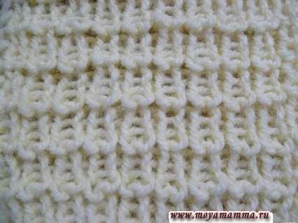 Modelli per la maglieria sciarpe con ferri da maglia. Gum perla 2.