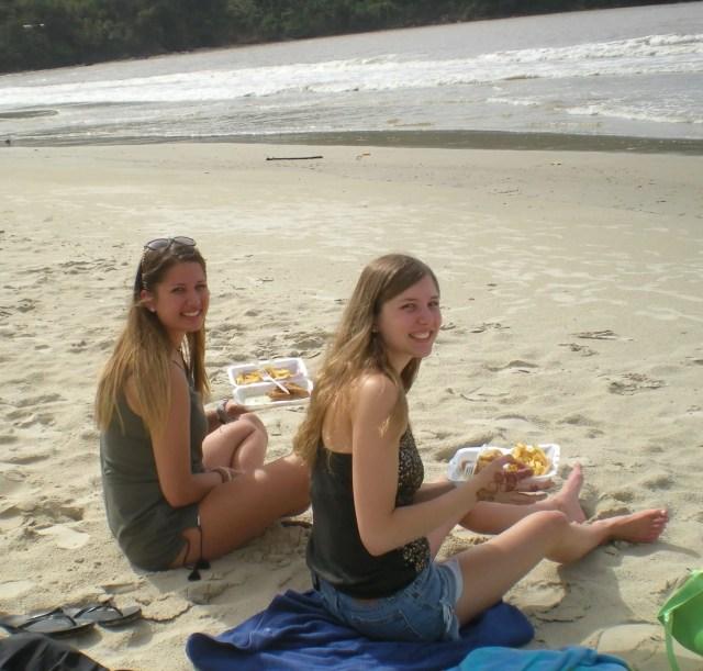 eating trinidad bakes on maracas beach in trinidad