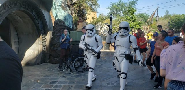 Stormtroopers patrolling Black Spire Outpost at Star Wars Galaxy's Edge in Hollywood Studios Disneyworld