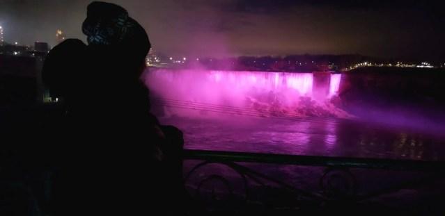 Illumination of Niagara Falls in the winter