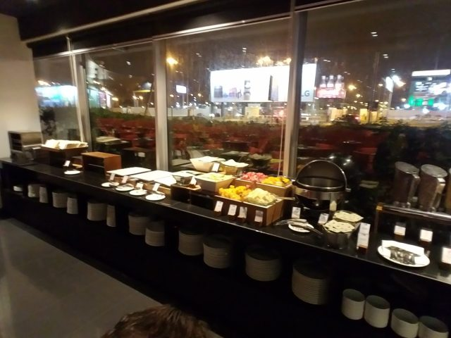 Breakfast bar at Wyndham Hotel at Lima Peru airport