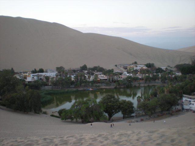 city of Huacachina with the oasis in the middle