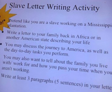 Mississippi school asks students to 'pretend' they're slaves and write a letter to their family 'Back in Africa'