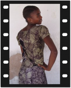 Back side of womens dress - Designed, coloured and made at Moyo Mmoja Vocational Training Centre