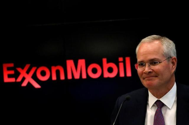 Darren Woods, Chairman & CEO, Exxon Mobil Corporation attends a news conference at the NYSE