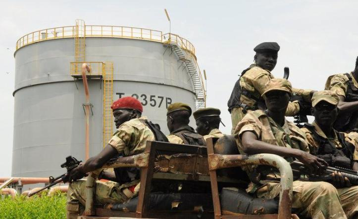 Security forces patrol the Dar Petroleum Operating Company oil production operated in Palogue oil field within Upper Nile State in South Sudan