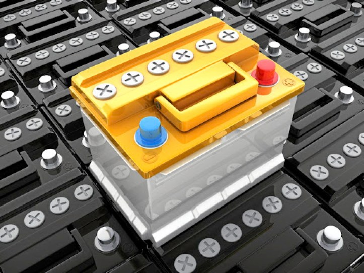 Many car black battery and one yellow . 3d illustration