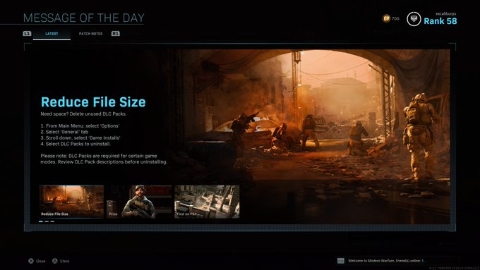 Infinity Ward Posts Tutorial On How To Reduce Modern Warfare File Size On Ps4 Mp1st