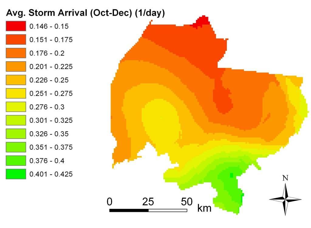 Avg storm arrival OCt-Dec 1988-2002 map