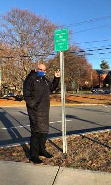 Mayor Neil Perry at the meetup spot outside the Methuen Police Department. (Courtesy Photo City of Methuen)