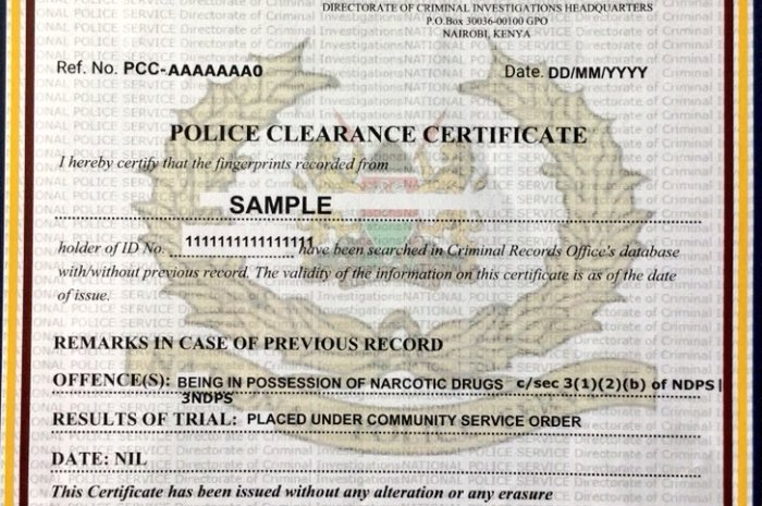 How To Get A Certificate Of Good Conduct In Kenya
