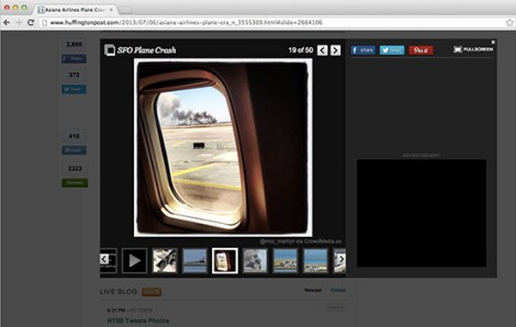 This image, capturing the Asiana Airlines plane crash at SFO, was found by CrowdMedia and used by the Huffington Post.