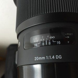 Sigma 20mm Art lens focus scale.