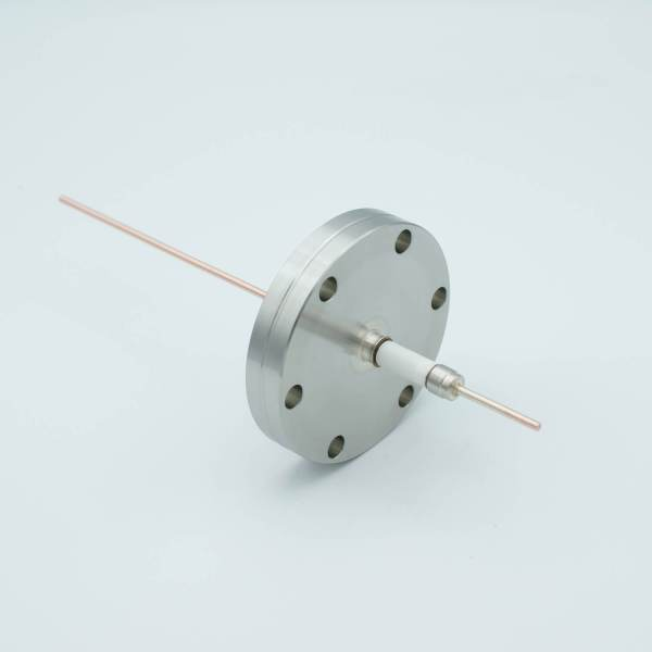 """Power Feedthrough, 14,000 Volts, 50 Amps, 1 Pin, 0.094"""" Copper Conductor, 2.75"""" Conflat Flange"""