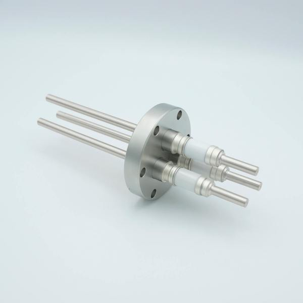 """Power Feedthrough, 12,000 Volts, 55 Amps, 3 Pins, 0.25"""" Nickel Conductors, 2.75"""" Conflat Flange"""