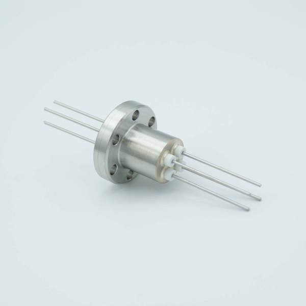 """Power Feedthrough, 1000 Volts, 1 Amp, 4 Pins, 0.050"""" Stainless Steel Conductors, 1.33"""" Conflat Flange"""