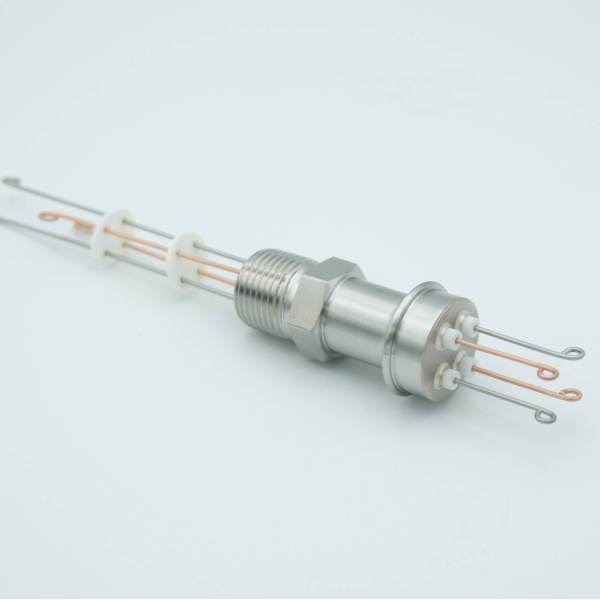 """Thermocouple Feedthrough, Type T, 2 Pairs, Screw-type Connector, 0.5"""" NPT Fitting"""