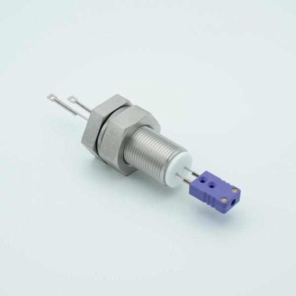 "Thermocouple Feedthrough, Type E, 1 Pair, Miniature Connector, 1.0"" Baseplate Bolt"