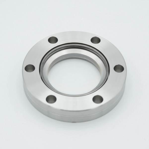 "UHV Viewport, DUV Grade (Laser) Fused Silica, Zero Length Profile, 1.40"" View Dia, 2.75"" Conflat Flange"