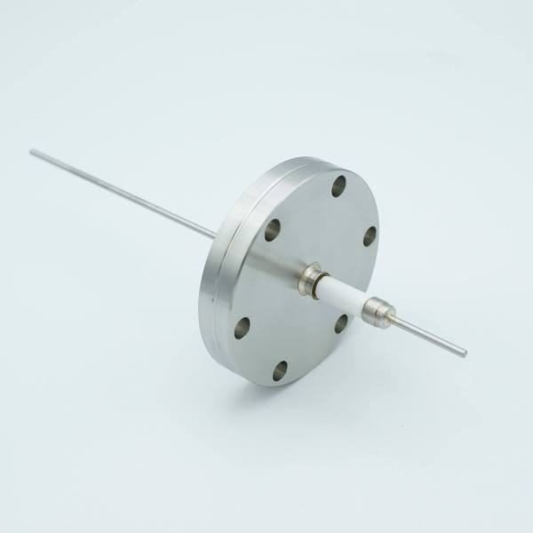 """Power Feedthrough, 14,000 Volts, 15 Amps, 1 Pin, 0.092"""" Nickel Conductor, 2.75"""" Conflat Flange"""