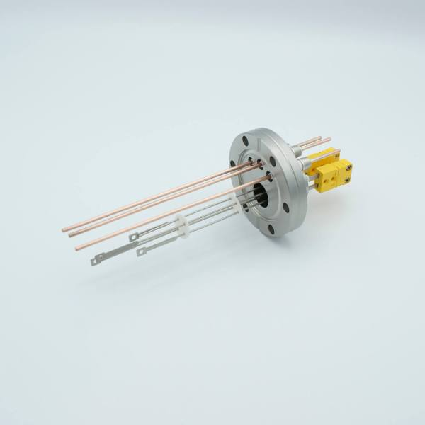 """Thermocouple-Power Feedthrough, 2 Pairs Type K, w/ Miniature TC Connectors, 5000 Volts, 30 Amps, 3 Pins, 2.75"""" Conflat Flange"""