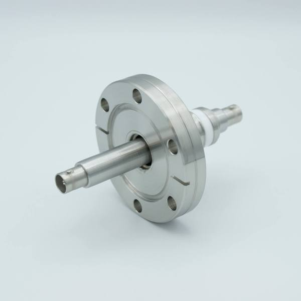 """MPF - A0475-3-CF BNC Coaxial Feedthrough, 1 Pin, Floating Shield, Double-Ended, 2.75"""" Conflat Flange, Without Air-side Connector"""