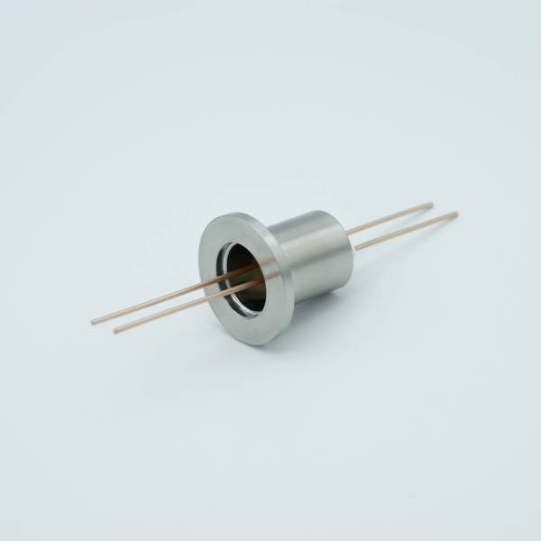 "Power Feedthrough, 1000 Volts, 25 Amps, 2 Pins, 0.050"" Copper Conductors, 1.18"" QF / KF Flange"