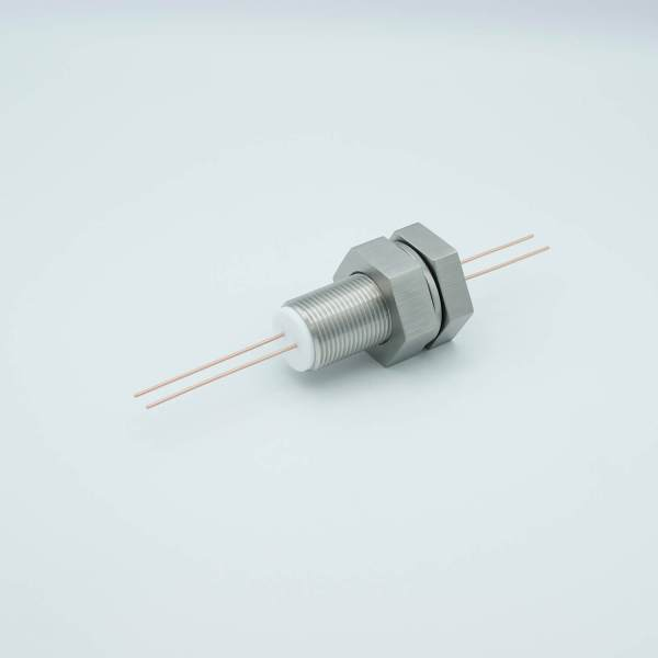 """Power Feedthrough, 1000 Volts, 25 Amps, 2 Pins, 0.050"""" Copper Conductors, 1.0"""" Baseplate Bolt"""