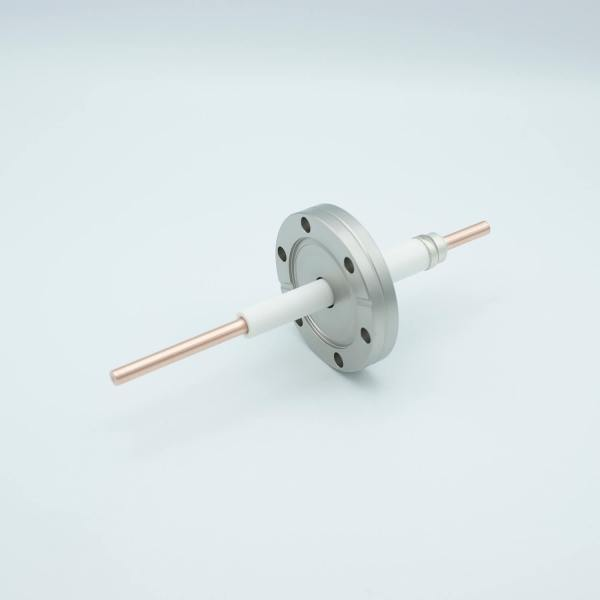 """Power Feedthrough, 12,000 Volts, 180 Amps, 1 Pin, 0.25"""" Copper Conductor, 2.75"""" Conflat Flange"""