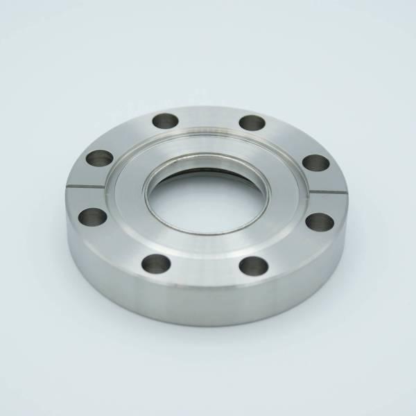 "UHV Viewport, DUV Grade (Laser) Fused Silica, Zero Length Profile, 1.40"" View Dia, 3.37"" Conflat Flange"