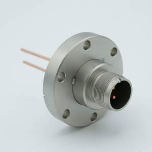 "MPF - A0754-1-CF MS High Current Series, Multipin Feedthrough, 2 Pins, 700 Volts, 23 Amps per Pin, 0.094"" Copper Conductors, 2.75"" Conflat Flange"