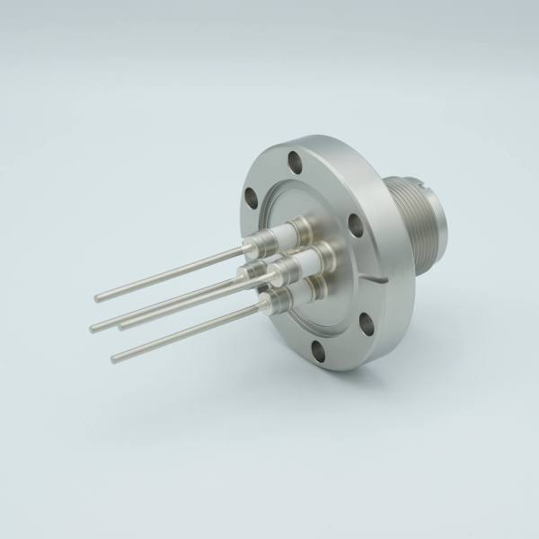 """MS High Current Series, Multipin Feedthrough, 4 Pins, 700 Volts, 15 Amps per Pin, 0.094"""" Nickel Conductors, 2.75"""" Conflat Flange"""