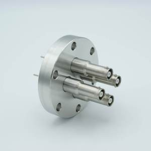 """MPF - A1601-5-CF SHV-10 Coaxial Feedthrough, 4 Pins, Grounded Shield, Exposed Insulator, 2.75"""" Conflat Flange"""
