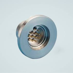 """MPF - A2143-1-QF Subminiature C-type Multipin Feedthrough, 9 Pins, 500 Volts, 5 Amps per Pin, 1.18"""" QF / KF Flange"""