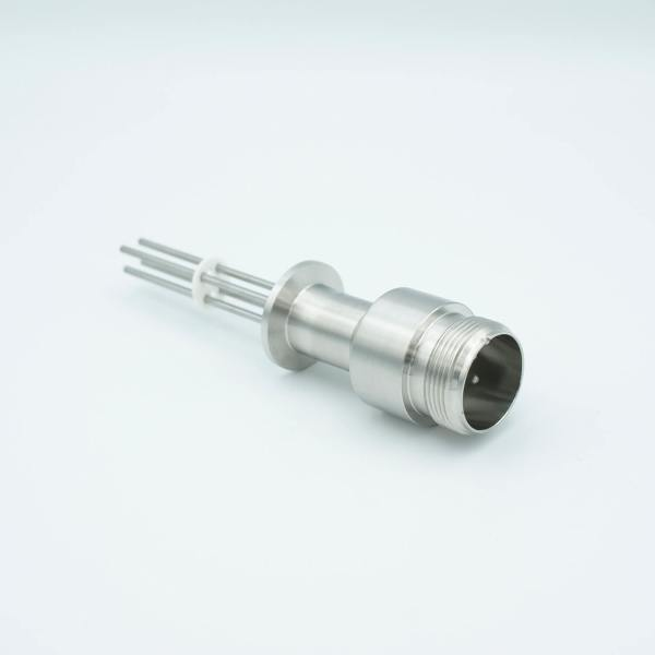 "MPF - A2567-5-QF MS High Current Series, Multipin Feedthrough, 4 Pins, 700 Volts, 16 Amps per Pin, 0.094"" Nickel Conductors, 1.18"" QF / KF Flange"