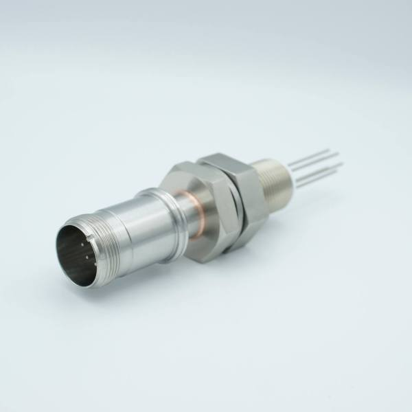 """MPF - A2968-3-BP MS Series, Multipin Feedthrough, 4 Pins, 700 Volts, 10 Amps per Pin, 0.056"""" Dia Conductors, w/ Air-side Connector, 1.0"""" Baseplate Bolt"""