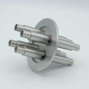 """MPF - A7111-1-QF BNC Coaxial Feedthrough, 4 Pins, Grounded Shield, Double-Ended, 2.95"""" QF / KF Flange"""