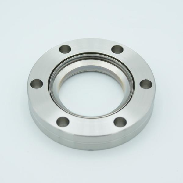 """UHV Viewport, DUV Grade (Laser) Fused Silica w/ Broadband AR Coating for 550-1100nm, 1.40"""" View Dia, 2.75"""" Conflat Flange"""