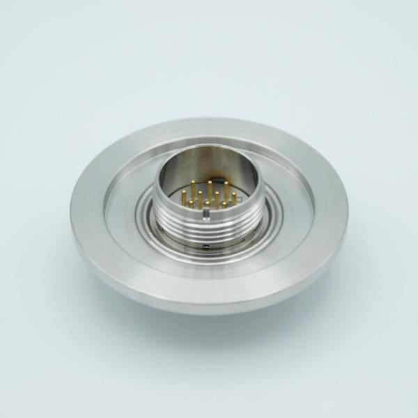 """MPF - A8233-3-QF: MS Circular Connector Series, Multipin Feedthrough, 10 Pins, 1000 Volts, 3 Amps per Pin, Double-Ended w/ Air & Vacuum-side Connectors, 2.16"""" QF / KF Flange"""