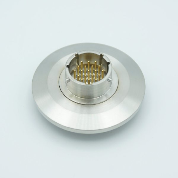 """MPF - A8233-4-QF: MS Circular Connector Series, Multipin Feedthrough, 19 Pins, 1000 Volts, 3 Amps per Pin, Double-Ended w/ Air & Vacuum-side Connectors, 2.16"""" QF / KF Flange"""