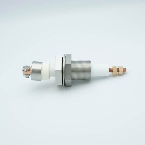 """MPF - A4475-1-BP: E-Beam Power Feedthrough, 12,000 Volts, 1 Pin, 1"""" Baseplate Bolt, Alumina Sputter Shield, and Vacuum Spade"""